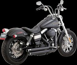 Vance And Hines Black Big Shot Staggered Exhuast 06-17 Dyna Fxdf Fxdb Fxdc Fxdwg