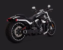 Vance And Hines Black Hi Output 2 Into 1 Short Exhaust Pipe Harley Breakout Rocker
