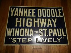 Vintage Tin Embossed Yankee Doodle Highway Winona To St Paul Mn Advertising Sign