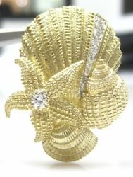 Vintage Pearly Shells Diamond Brooch  Pin 14kt Yellow Gold CLASSIC