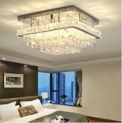 Square Remote Control Led Crystal Ceiling Light Living Room Bedroom Lobby Lamps