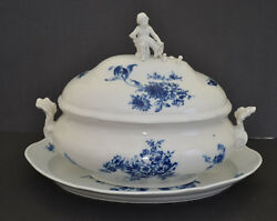 Meissen Porcelain Soup Tureen With Underplate With Blue Flowersbutterfly Decora