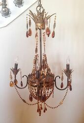 Amber And Tole Beaded Large Chandelier Gorgeous Light