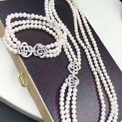 3rows 7-8mm South Sea White Round Pearl Necklace Bracelet 22inch 8inch Silver