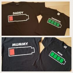 MUMMY DADDY DAUGHTER SON Novelty Battery Tshirt. Matching Family outfit. Funny