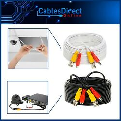 CCTV Cable Security Camera Siamese Wire BNC DC Power Video White Black Lot