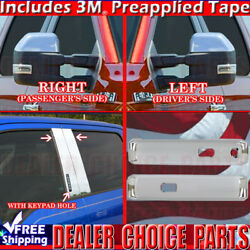 15-18 F150 Ext-cab Chrome Door Handle Covers W/sk+mirrors Tow+pillar Posts W/kp
