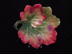 Hand Painted Fitz And Floyd Classics Harvest Heritage 14 Leaf Shaped Serving Bowl