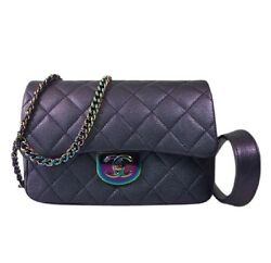 Limited Ed Chanel Purple Iridescent Flap Crossbody Bag With Rainbow Waist Chain
