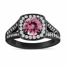 Pink Tourmaline And Diamonds Engagement Ring 14k Black Gold Vintage Style 1.56 Ct