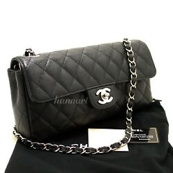 CHANEL Authentic Caviar Chain Shoulder Bag Black Quilted Flap Leather Silver j06
