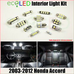 Fits 2003-2012 Honda Accord White Led Interior Light Accessories Package Kit 12x