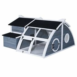 Chicken Coop Backyard Barn w Curved Outdoor Run Pawhut Deluxe Blue Gray NEW