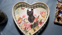 Hand Painted ScottieScottish Terrier   Heart  Metal Tray