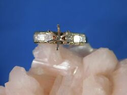 18k Yellow Gold 7 Mm Round Semi-mount Engagement Ring With .60 Square Diamonds