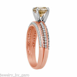 14k Rose Gold Fancy Champagne Diamond Engagement Ring And Wedding Band Sets 1.23ct