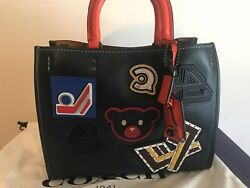 Coach 1941 Rogue Varsity Patch Leather Tote Navy