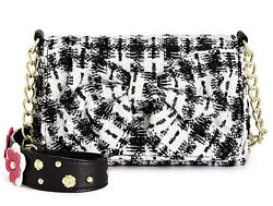 New Betsey Johnson Houndstooth Floral Tweed Shoulder Small Bag Black White Bow $26.81