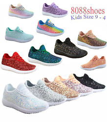 Youth Girland039s Kidand039s Lace Up Glitter Jogger Sneaker Lace Up Shoes Size 9 - 4 New