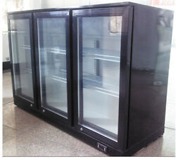 Biz Black 3-door Refrigerator Back Bar Beverage Cooler R134a Refrigerant 110V