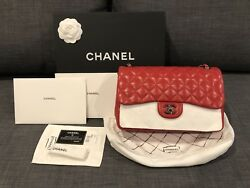 100%Authentic Chanel Lambskin  Classic Double Flap Red Jumbo with Ruthenium hard