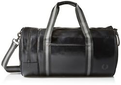 Fred Perry Men's Classic Barrel Bag Fitness Sport Gym Black Charcoal