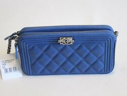 Chanel Blue Caviar Le Boy Double WOC Wallet on Chain NEW