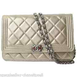 Chanel Le Boy Gold Metallic Flap WOC Wallet On Chain Crossbody Evening Bag 2014