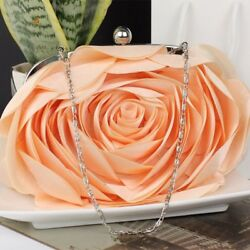 Peach Clutch Peach Bridesmaids Evening Purse Orange Floral Handbags for Women