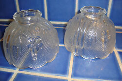 2 Vtg Pair Pressed Glass Lamp Shade Globe - Daisies And Criss Cross - Small