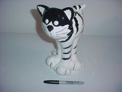 Black and White Ceramic Vase Cat Figurine
