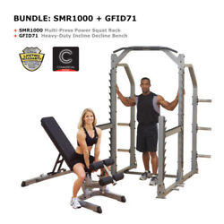 Combo Body-solid Multi-press Power Squat Rack And Bench Set - Free Shipping