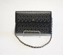 Chanel Black Gold Silver Stud WOC Wallet on Chain Shoulder Bag Clutch