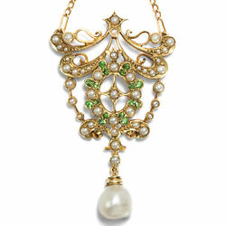 Um 1895 Antique Necklace From Demantoid Grenades And Orient Pearls Natural Beads
