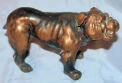 LARGE 1+lb LAntique Cast Metal English Bulldog Statue  6.5