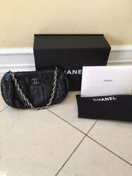 AUTH CHANEL Black Python Leather Evening Bag Clutch Classic Shoulder Bag Silver