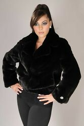 Brand New Real Mink Bomber Jacket In Blackglama, With English Collar Or Hood