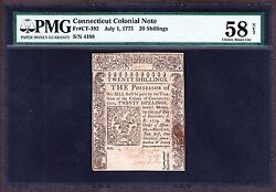 Us 20s Connecticut Colonial Currency 07/01/1775 Fr Ct192 Pmg 58 Ch Au Net-188