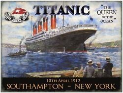 Titanic Queen Of The Ocean Liner Ships And Boats Picture Small Metal Tin Sign
