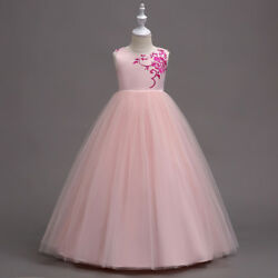 Flower Girls Kids Princess Dress for Girls Party Wedding Bridesmaid Gown O75
