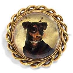 Victorian Um 1870 Antique Essex Crystal As Brooch And Pendant In Gold, Dog
