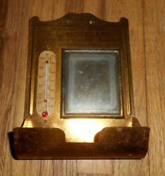 Antique I.l. Moreland Advertising Comb Holder Mirror Thermometer Colesburg Ia