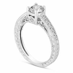 Diamond Engagement Ring 0.70 Carat 14k White Gold Certified Vintage Style Pave