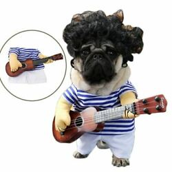 Funny Pet Guitar Player Cosplay Dog Costume Guitarist Dressing Up Party Christma