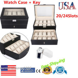 20 24 Slots PU Leather Watch Box Display Glass Top Jewelry Case Organizer Sale