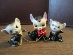 Vintage Ceramic Figurines - Black Cat & Kittens Chained Trio - Japan - Red Bow