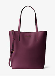 New Authentic Michael Michael Kors MK Emry Large Leather Tote Shoulder Bag Plum