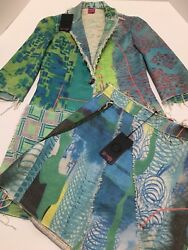 Save The Queen Made In Italy Multicolored Jacket Skirt Set Size Small New
