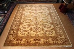 Top Quality 9'x12  Handmade Vegetable Dyed Beige background Natural Wool Carpet