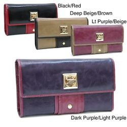 Top Quality Color-blocked Leather Clutch Wallets Amazing GIFT For Women NEW